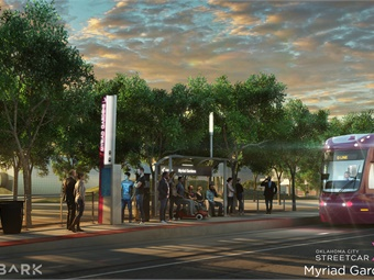 The OKC Streetcar will serve 22 stops (rendering shown) with five streetcars. Image: Oklahoma City Streetcar