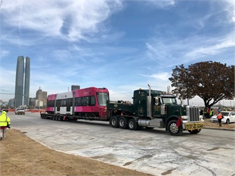 The streetcars are delivered by truck from Pennsylvania, where they're built by Brookville Equipment Corp. Photo: Oklahoma City Streetcar/Twitter