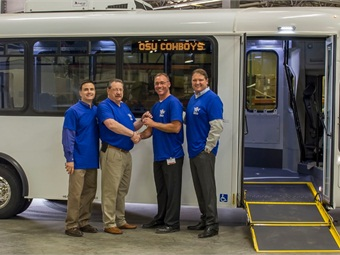 Pictured: Joe Kizinski-Regional Sales ARBOC, Don Roberts- President & CEO ARBOC, Tom Duncan-Transit Manager Oklahoma State University and Brent Roy-Regional Sales National Bus Sales