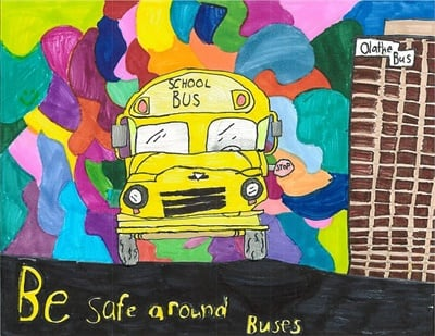 The latest winning entry in First Student's art contest came from fourth grader Ruth Brooks of Olathe Public Schools. The bus company awarded her school $1,000 to put toward classroom supplies.