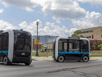 Sacramento State will have use of two Olli shuttles, which are the first co-created, self-driving, electric vehicles designed to transport small groups at low speeds. Photo: Local Motors