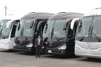 San Francisco operator Omar Orozco with his fleet of Irizar i6 luxury motorcoaches (LCT photo from Orozco)