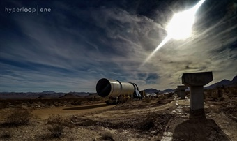 The 0km Fixity tube traveling to its new home at the start of DevLoop. Photo: Hyperloop One