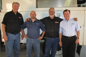"Pictured from left are ""Motorhead Garage"" host Dave Bowman, Onspot Regional Manager Danny Graham, show host Sam Memmolo and Onspot President Pat Freyer from a Nov. 6 episode."