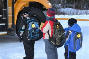 Children in junior kindergarten through third grade transported by the Northwestern Ontario Student Services Consortium wear these flashing amber lights to improve their visibility when getting to bus stops.