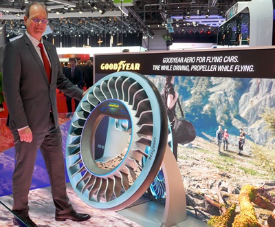 """In our opinion there are no boundaries when it comes to tire innovation,"" said Goodyear's Carlos Cipollitti, pictured with the company's Aero concept tire."
