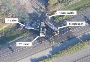 In the Orland crash, the motorcoach, which was transporting high school students and chaperones, was struck head-on by a truck-tractor. Photo from California Highway Patrol