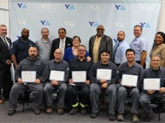 Graduates of Santa Clara Valley Transportation Authority's Overhead Line Worker Apprenticeship, part of VTA/ATU Joint Workforce Investment program. Photo: Santa Clara VTA