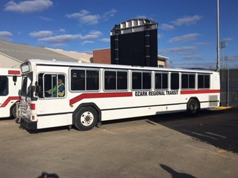 Buses donated by Razorback Transit. Photo: University of Arkansas