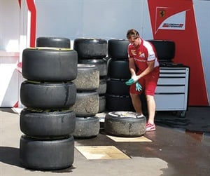 An essential, but non-glamorous, part of a team's duties is to clean all tires and wheels before returning them to Pirelli during a race weekend.