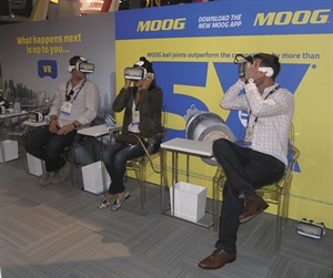What happens when a chassis component fails? Visitors to the Federal-Mogul Motorparts booth strapped on virtual reality goggles to find out. The demo helped Federal-Mogul promote the results of independent metallurgical testing of its Moog brand ball joints.