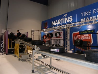 The length of the new telescopic tire conveyor from Martins Industries can be adjusted from 27 feet to 67 feet.