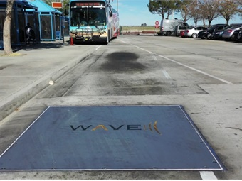 The new wireless charging station, the 250-kilowatt Inductive Power Transfer Technology, includes a primary charging plate aimed at reducing wait time for electric buses to be fully charged.
