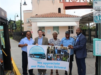 Aside from receiving a handshake from Palm Tran leadership, the bus operators had an opportunity to pose for pictures and talk with the administrative staff.