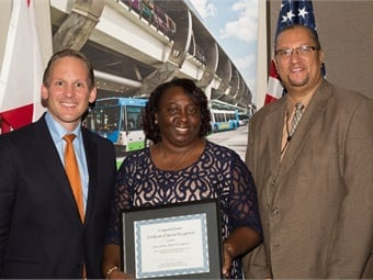Bus Operator Joan Jenkins (center) receives Special Recognition in the category of Bus Operator of the Year.