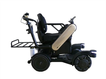 The self-driving electric wheelchair jointly developed by Panasonic and WHILL Co., Ltd., is capable of independently detecting and avoiding people and obstacles. ANA