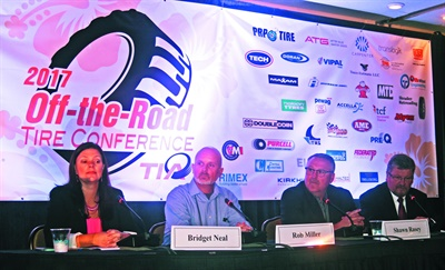 Panelists Bridget Neal, Bridgestone Americas; Rob Miller, Yokohama Tire Corp.; Shawn Rasey, Continental Tire the Americas LLC; and Michael Aguon, BKT USA Inc., discussed the latest developments in OTR tire design (see more on this in our April issue).