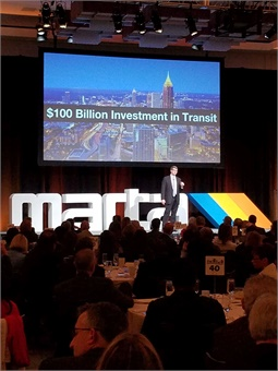 In Parker's first State of MARTA address, he challenged the crowd to rally behind a $100 billion investment in transit and technology over the next 40 years.MARTA