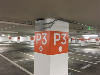 The parking-guidance system uses sensors to monitor the status of each parking space in a parking lot or garage.