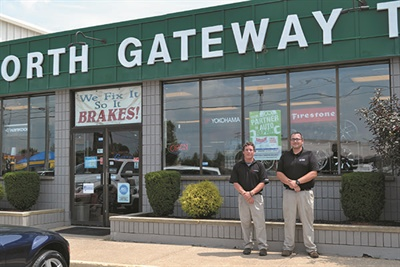 North Gateway Tire Co. serves commercial and retail customers from its 28-bay shop and warehouse in Medina, Ohio. Patrick Hill (left) is vice president-service and Steve Starosta is retail and commercial sales manager.