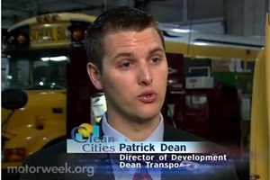 Patrick Dean, director of development at Dean Transportation, is interviewed about the company's hybrid school buses.