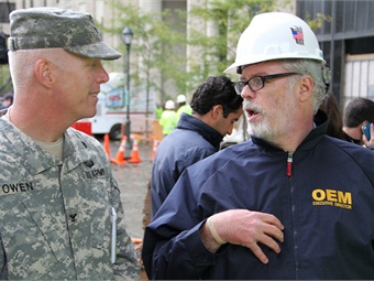 Patrick J. Foye, Executive Director of the Port Authority of New York and New Jersey, speaks to Col. Paul Owen, commander of the U.S. Army Corps of Engineers New York District, Oct. 30, 2012, at the World Trade Center site in lower Manhattan. Photo: North Atlantic Division