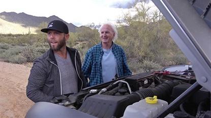 Dustin Pedroia (left) takes Paul Sullivan on a road trip through the Arizona desert in the latest Sullivan Tire commercial.