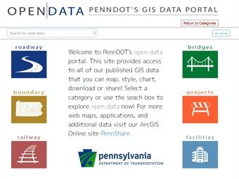 PennDOT Open Data portal screenshot.