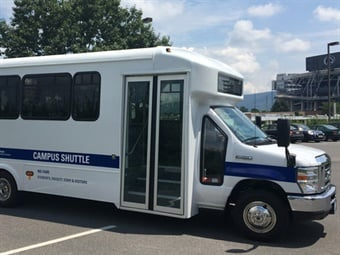"University officials hope the new Campus Shuttle service will encourage more people to ""park once"" and take advantage of the shuttle to navigate campus.
