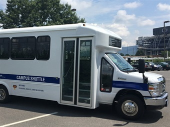 """University officials hope the new Campus Shuttle service will encourage more people to """"park once"""" and take advantage of the shuttle to navigate campus. Penn St."""