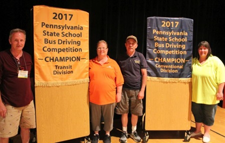 All four of Pennsylvania's school bus drivers who advanced to the international competition placed in the top 10 in their categories. From left: Ted Dubbs, Cheryl Vogelsang, Larry Hannon Sr., and Shanon O'Brien.