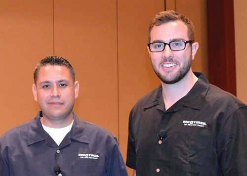 Jose Perez (left) and Matthew Greco explained how they increased alignment sales at their Golden West Tire Centers stores at a seminar for Big O tire dealers.