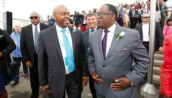 Metro CEO Phil Washington, left, and Los Angeles County Supervisor Mark Ridley-Thomas at the grand opening of the Expo Line extension to Santa Monica in May 2016. (Photo credit LA Metro.)