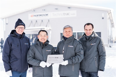 Hankook executives gathered for the official opening of the company's winter tire test center in Finland (from left): Alex Burns, CEO of the Millbrook Group, a provider of vehicle testing, validation and engineering services; Ho-Youl Pae head of Hankook Tire Europe; Hyung Nam Kim, head of global R&D and purchasing for Hankook; and Klaus Krause, head of Europe Technical Center at Hankook.