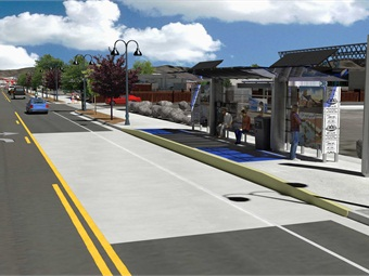 The planned 4th Street/Prater Way RAPID line will run in the second-busiest transit corridor in the system. Wood Rodgers/RTC of Washoe County