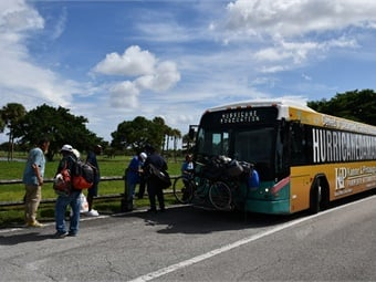 Palm Tran evacuating homeless individuals to local shelters prior to Hurricane Dorian. Palm Tran
