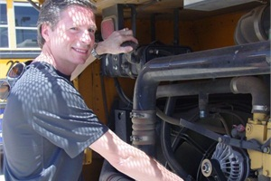 Author Bill Lehman says his mentor, Queen Creek (Ariz.) Unified School District #95 lead trainer Marsha Stones, did word association with him to help him learn the components of a diesel engine for the DMV pre-trip and driving test.