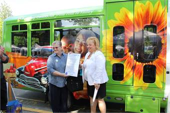Pierce Transit CEO, Lynne Griffith (shown on left) led the agency for the past eight years.