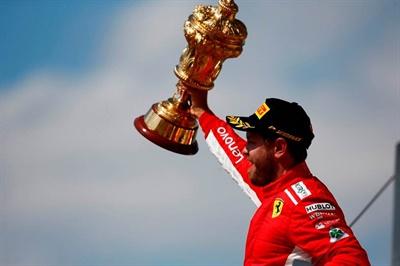 Sebastian Vettel finished ahead of Mercedes driver Lewis Hamilton and Ferrari teammate Kimi Raikkonen at the 2018 British Grand Prix.