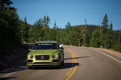 Rhys Millen (Bentley) set a new Pikes Peak SUV record time of 10:49.902 in the 2018 Bentley Bentayga, equipped with Pirelli P Zero road tires.