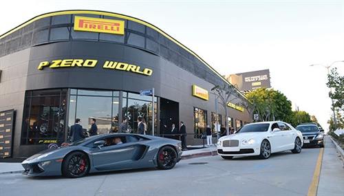 """P Zero World is Pirelli & Cie SpA's first tire shop focused on prestige products and services. Los Angeles was chosen because it is the """"global capital of cinema, car design, technical innovation and a focal point in fashion and the arts,"""" according to the company."""