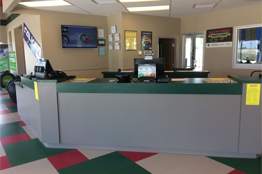 The showroom of Plaza Tire Service's new store in Springfield offers comfortable seating, televisions and complimentary WiFi service for customers' comfort and convenience.