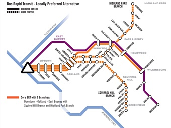 BRT project map. Port Authority of Allegheny County