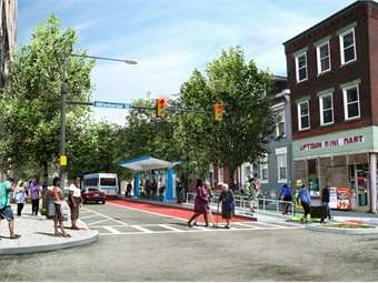 Downtown Pittsburgh BRT will link to Uptown, Oakland, Wilkinsburg via the East Busway, Squirrel Hill, and Highland Park. Rendering via Port Authority of Allegheny County