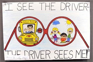 This entry from Samantha Bussell of Lafayette, Tenn., was the overall winner of NAPT's 2011 National School Bus Safety Week Poster Contest. Photo by Jaime Gallego