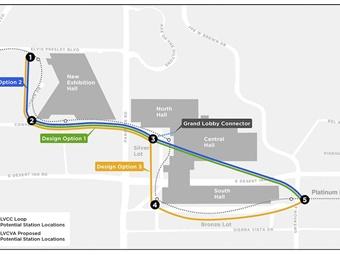 Rendering of potential LVCC Loop station locations. (C)2018 Las Vegas News Bureau/LVCVB