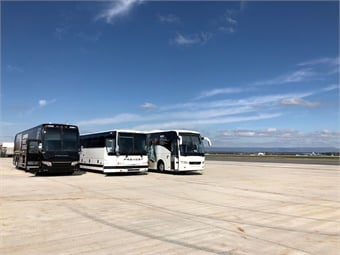 Prevost coaches on the tarmac at Hagerstown, Md. Regional Airport for the company's 2018 Ride and Drive event. Photo: Prevost