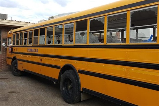 Police said that two suspects wielding a bat broke nearly 40 windows on three school buses.