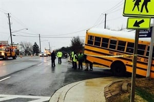 Investigators say they believe a school bus driver left his bus unattended with four students on board, and the vehicle then crossed the road and struck a small child. Photo by Prince George's County Police Department