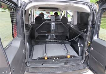 The ProMaster City gets a rear lift to aid transportation of a motorized scooter. Photo courtesy of Chrysler.